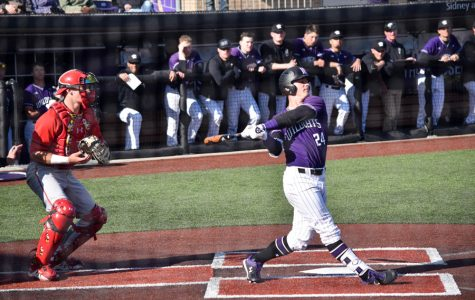 Willie Bourbon swings. The senior had five hits and three RBIs in NU's weekend series against Maryland.