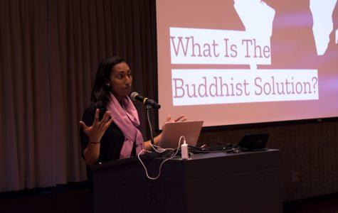 Maya Gunaseharan of Soka Gakkai International speaks at Northwestern University. Gunaseharan shared how Buddhist teachings can help one find the inner strength to achieve happiness.