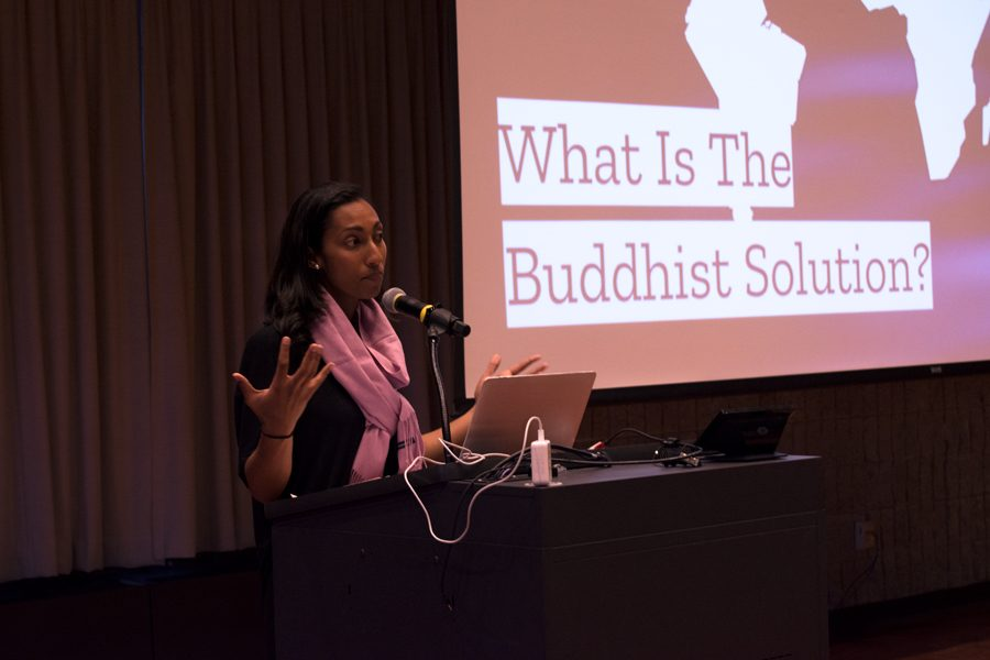 Maya Gunaseharan of Soka Gakkai International speaks at Northwestern University. Gunaseharan shared how Buddhist teachings can help one find the inner strength to achieve happiness.