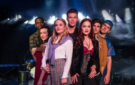 "The cast of ""Cruel Intentions: The '90s Musical"" poses on stage. The show from April 2 through April 14."