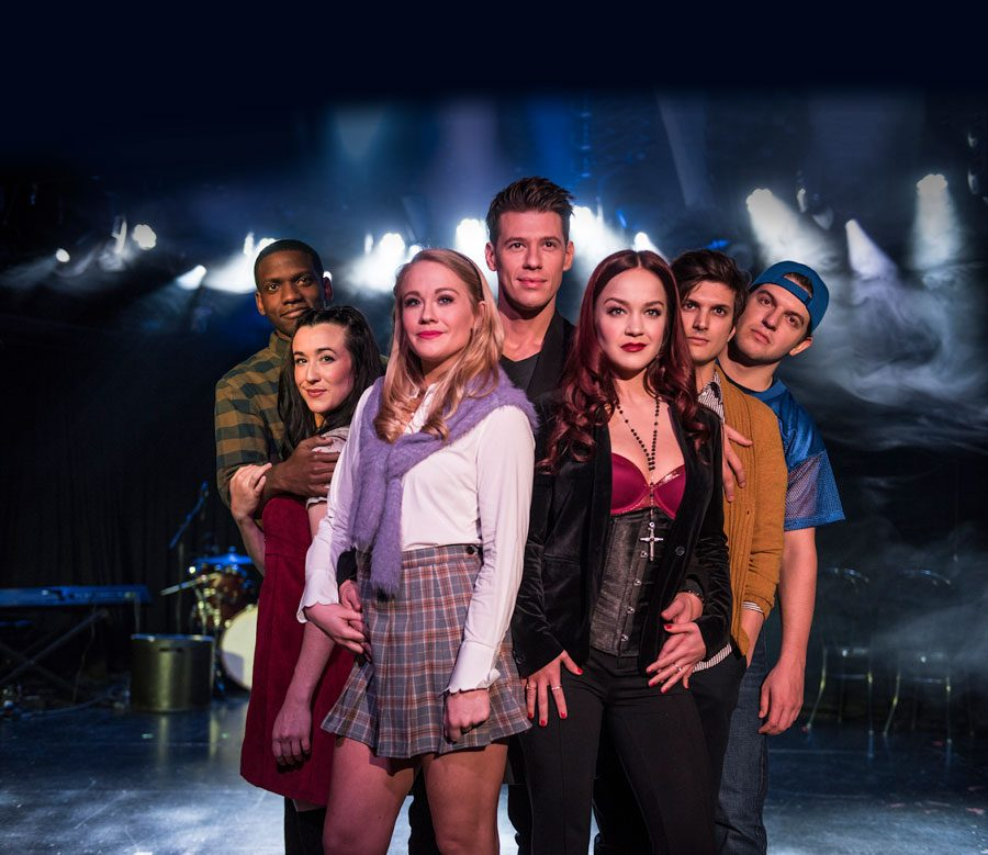 The+cast+of+%E2%80%9CCruel+Intentions%3A+The+%E2%80%9890s+Musical%E2%80%9D+poses+on+stage.+The+show+from+April+2+through+April+14.