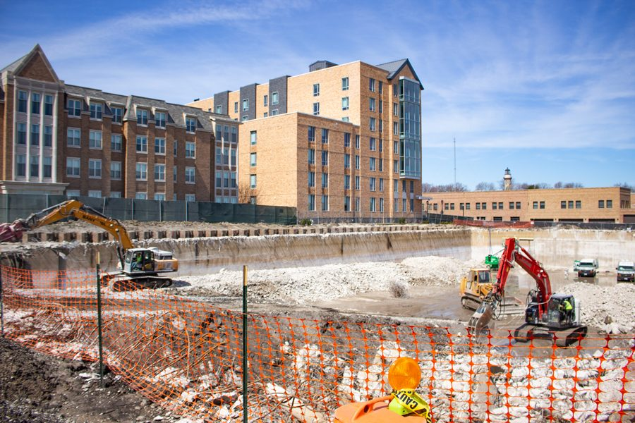 The construction site on Campus Drive. The site, which sits over a water reservoir, used to be a parking lot.