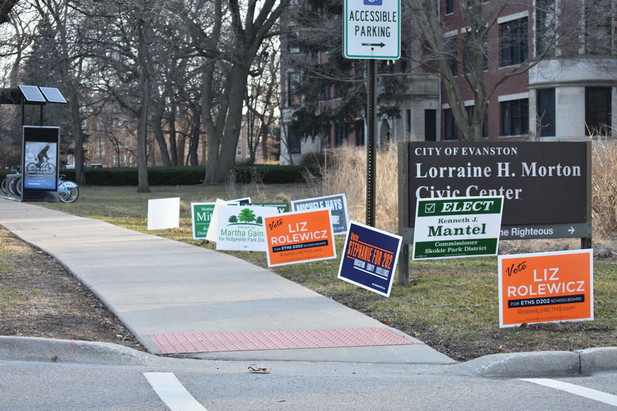 The Lorraine H. Morton Civic Center is one of several polling places. On Tuesday, residents will vote in Evanston Township High School/District 202 school board elections.
