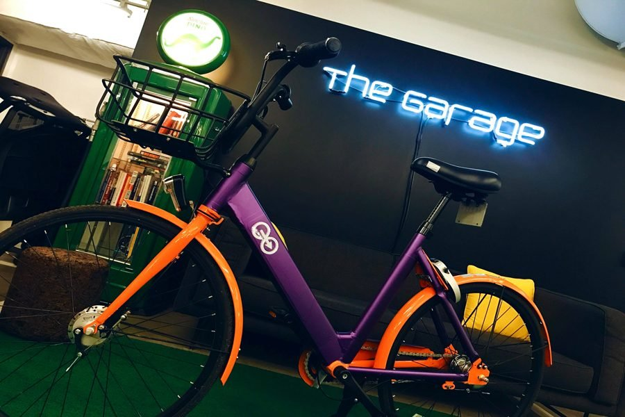 An eo bike at The Garage, where the company was founded. The student-run bike-share has placed 40 bikes around campus.