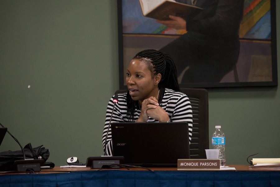 District 202 school board vice president Monique Parsons speaks at a meeting in May 2017.