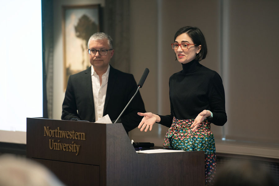"""Elsa Alvaro, right, and Baron Reed, left. Alvaro, the chair of the NTE committee, said a position in the Provost's Office to support NTE faculty was necessary to  """"harmonize"""" the disparity of policies and practices across schools."""