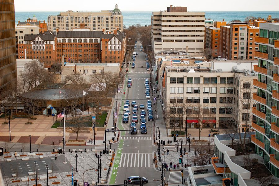 Downtown+Evanston.+A+recent+study+shows+that+gentrification+hasn%E2%80%99t+affected+Evanston%2C+but+some+residents+disagree.