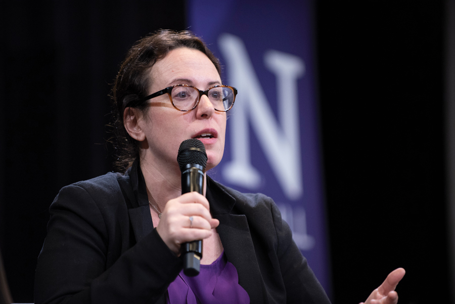 New York Times White House correspondent Maggie Haberman speaks at an event Thursday. Haberman emphasized the need for strong local news and truthful political reporting.