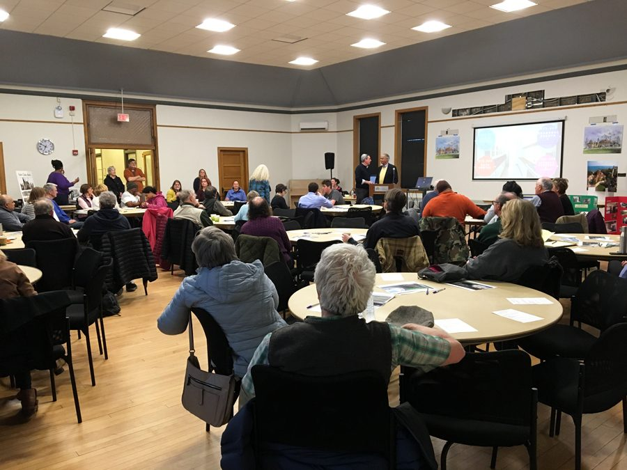 Harley Clarke Community members gather at Lorraine H. Morton Civic Center on Thursday. Attendees heard about different strategies for preserving the mansion.