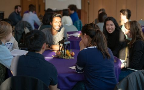 "Students discuss the role of the messiah in Parkes Hall at an interfaith event titled ""What are we waiting for?"". The event brought in faith leaders from the Islamic, Christian and Jewish traditions."