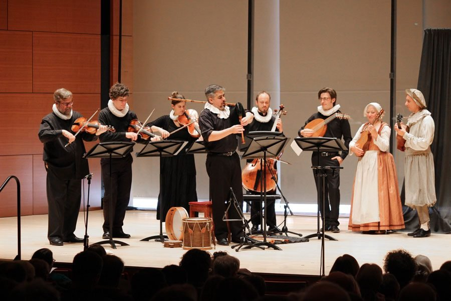 Donning period costumes, The Newberry Consort graced the Galvin Recital Hall during a prior engagement in 2018.