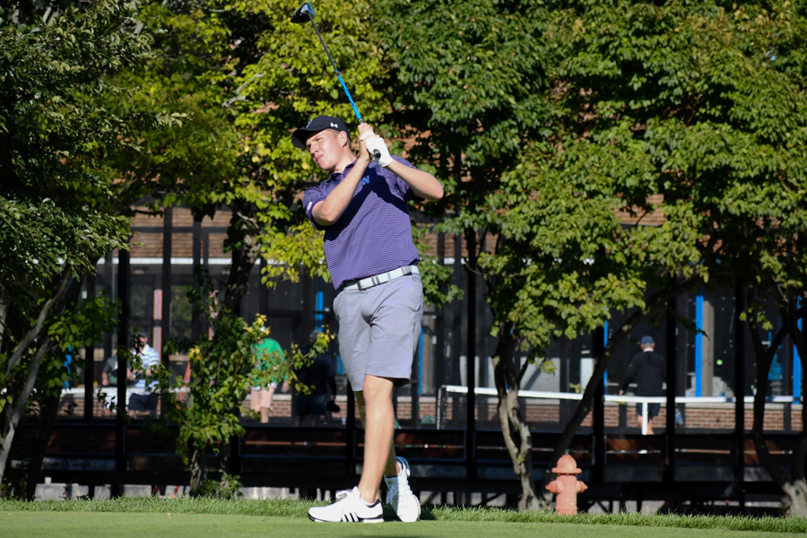 Eric McIntosh drives a golf ball. The sophomore led the team last weekend with a 19th place finish at The Goodwin.