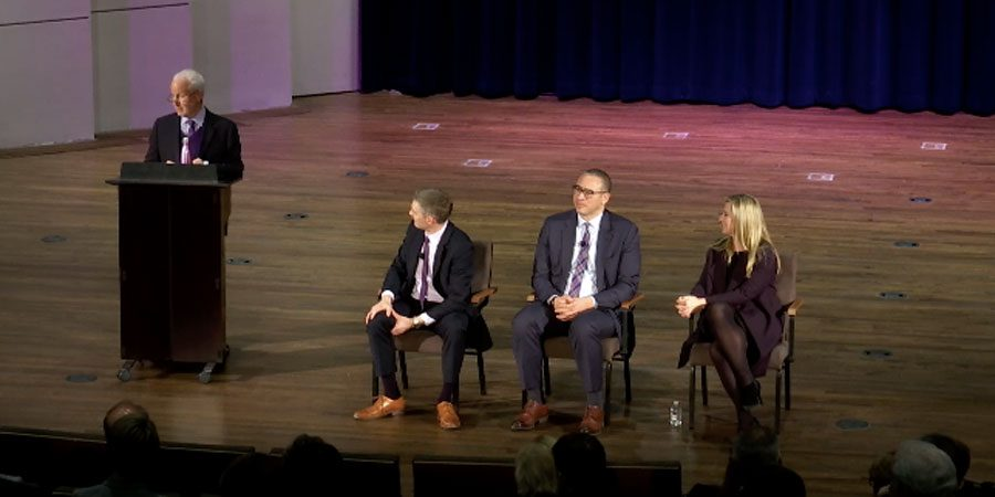 From left to right: University President Morton Schapiro, vice president for business and finance Craig Johnson, provost Jonathan Holloway and vice president for global marketing and communications Jeri Ward. The panel engaged in a moderated conversation on the Chicago campus.