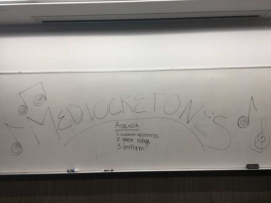 Medicretones+is+a+new+a+cappella+group+on+campus.+The+group+held+auditions+in+Kresge+Hall+for+all+those+unable+to+sing.