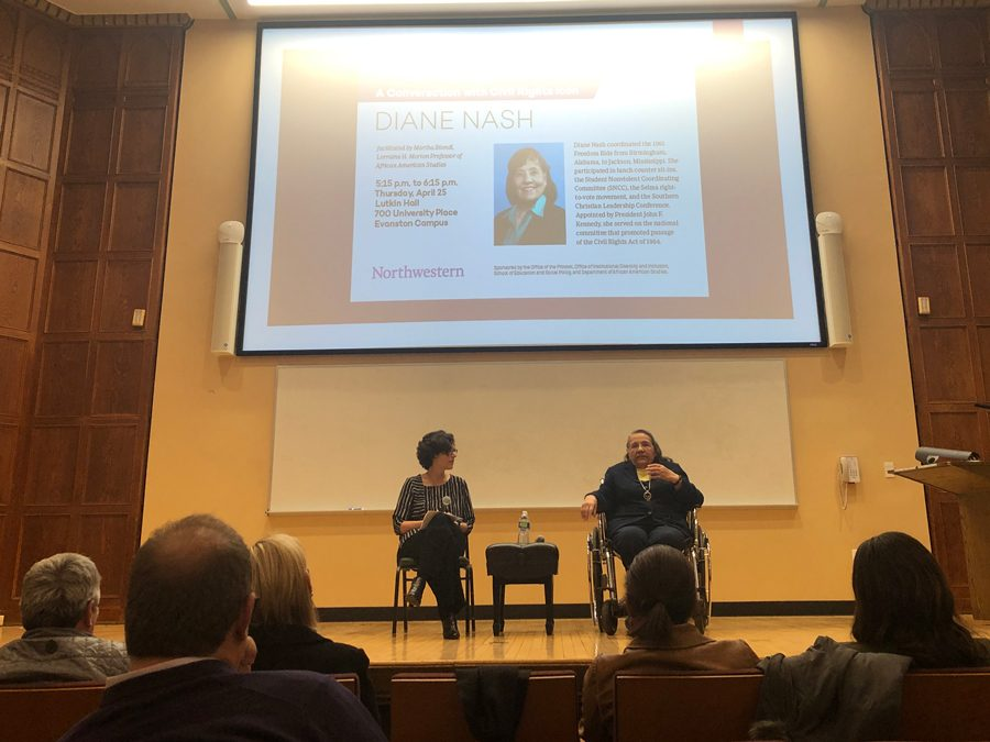 Civil+rights+activist+Diane+Nash+speaks+with+Weinberg+Prof.+Martha+Biondi+at+a+Thursday+event+hosted+at+Lutkin+hall.+Nash+recounted+her+experiences+as+an+activist+and+emphasized+the+need+for+civic+activism.+