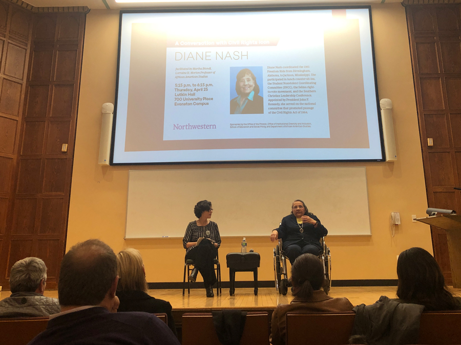 Civil rights activist Diane Nash speaks with Weinberg Prof. Martha Biondi at a Thursday event hosted at Lutkin hall. Nash recounted her experiences as an activist and emphasized the need for civic activism.