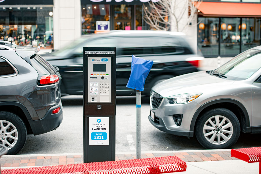 A parking station in downtown Evanston. Residents expressed frustration with the new parking procedures.
