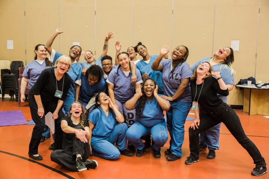 Women in Cook County jail work with members of Piven Theatre Project. The weekly workshops allow the women to express themselves in an environment where such chances are rare.