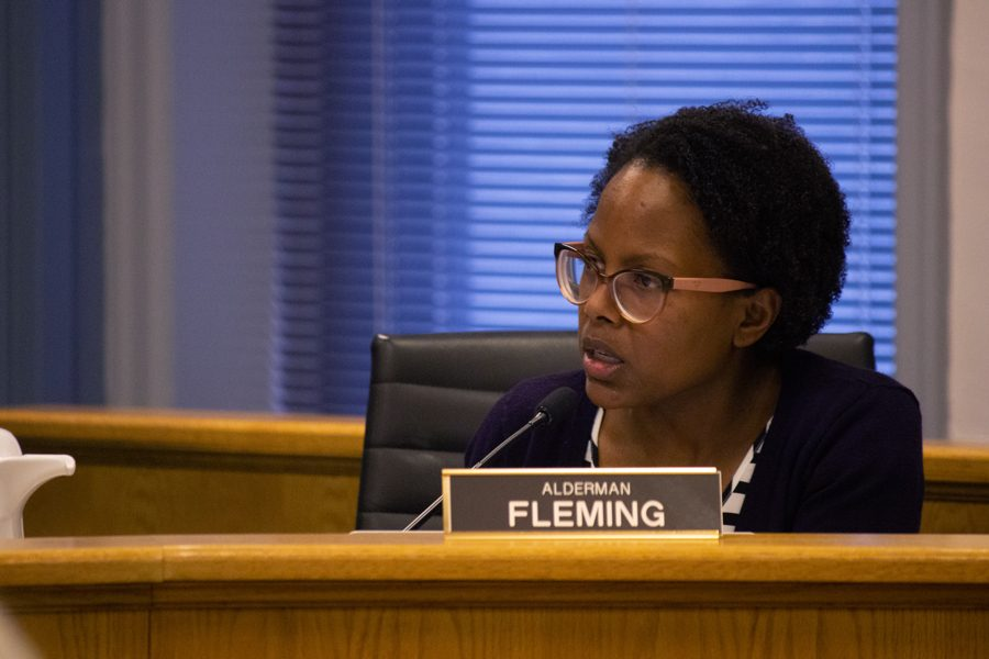 """Ald. Cicely Fleming (9th) speaks at a City Council meeting. Fleming encouraged city staff to be more """"aggressive"""" with union contracts going into 2018."""
