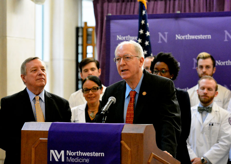 U.S. Rep. Bill Foster (D-Ill.) speaks at the Feinberg School of Medicine. He and other politicians introduced legislation that would increase federal research funding over the next five years.