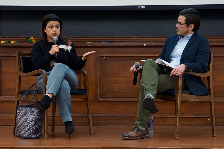 Gabriela+Rodriguez+speaks+at+A%26O+event.+Rodriguez%2C+the+producer+of+the+award-winning+%E2%80%9CRoma%2C%E2%80%9D+discussed+the+challenges+of+working+on+the+film.+