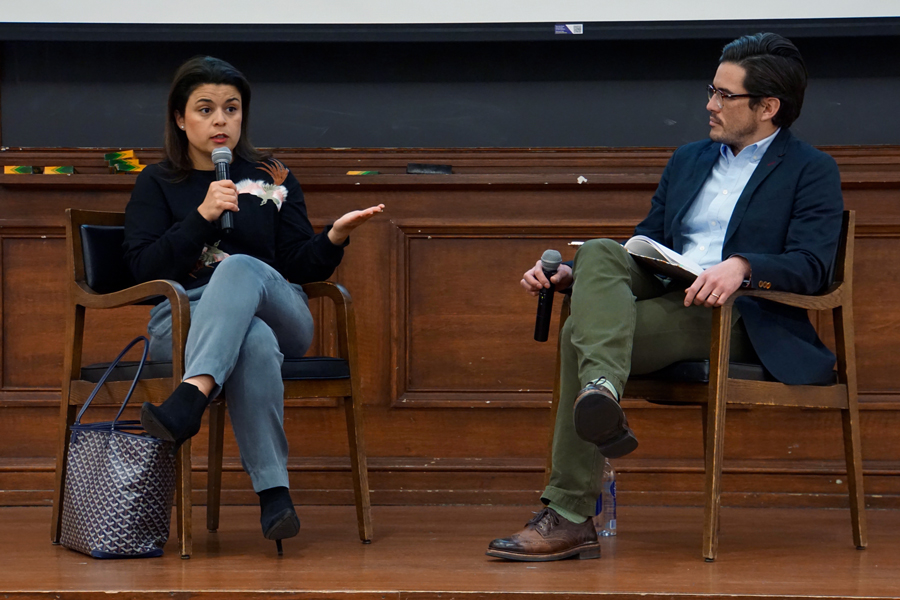 """Gabriela Rodriguez speaks at A&O event. Rodriguez, the producer of the award-winning """"Roma,"""" discussed the challenges of working on the film."""