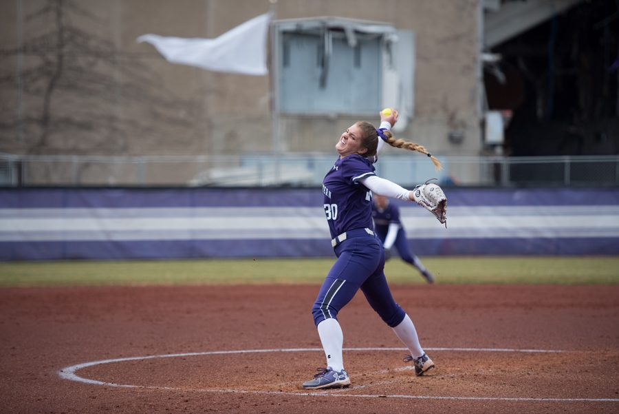 Kaley+Winegarner+pitches.+The+junior+pitched+five+innings+and+struck+out+four+this+weekend+against+Michigan+State.