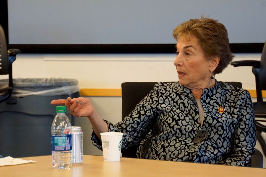 U.S. Rep. Jan Schakowsky (D - Ill.) speaks to a crowd of 20 in Annenberg Hall. The Congresswoman discussed her frustration with pharmaceutical companies.