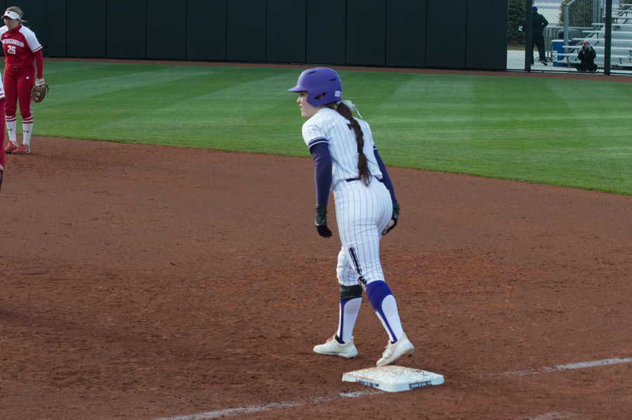 Morgan Nelson prepares to take off from first base. The senior has been a key component of the Wildcats' offense this season.