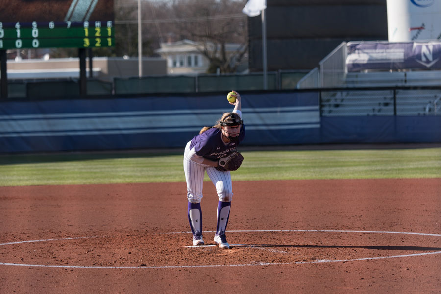 Morgan Newport goes into her windup. The junior made her second start of the season in NU's win Wednesday.