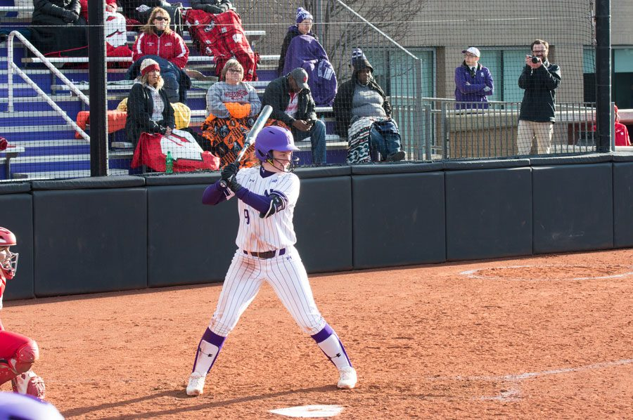 Lily+Novak+takes+up+her+stance.+The+senior+hit+a+walk-off+home+run+to+secure+a+sweep+for+the+Wildcats+against+Wisconsin.