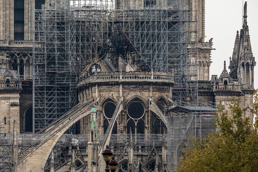 Damage caused to Notre Dame Cathedral following a major fire is seen on April 16, 2019 in Paris, France.
