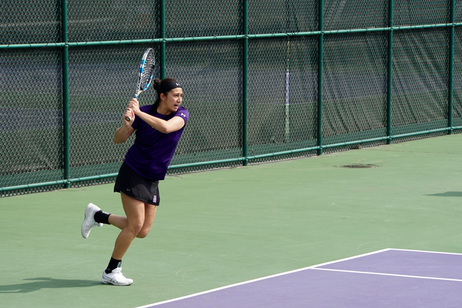 Lee Or follows through on her backhand. The Wildcats beat Chicago State 4-0 on Wednesday.