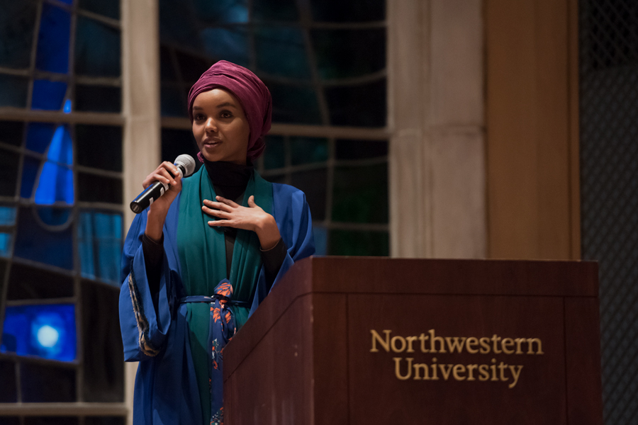 Halima Aden speaks at the Alice Millar Chapel. Aden, who grew up in a Kakuma refugee camp, was the first model to wear a hijab on an international runway.
