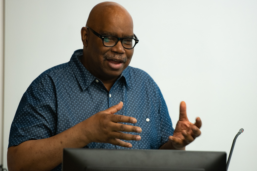 Floyd Webb speaks at the AfroFuturism Film Festival. The festival, put on by Living in Color and the Black Arts Initiative, worked to highlight award-winning afrofuturism films.