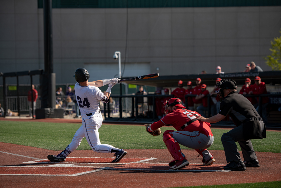 Willie Bourbon swings. The senior first baseman played his final game for the Wildcats on Sunday.