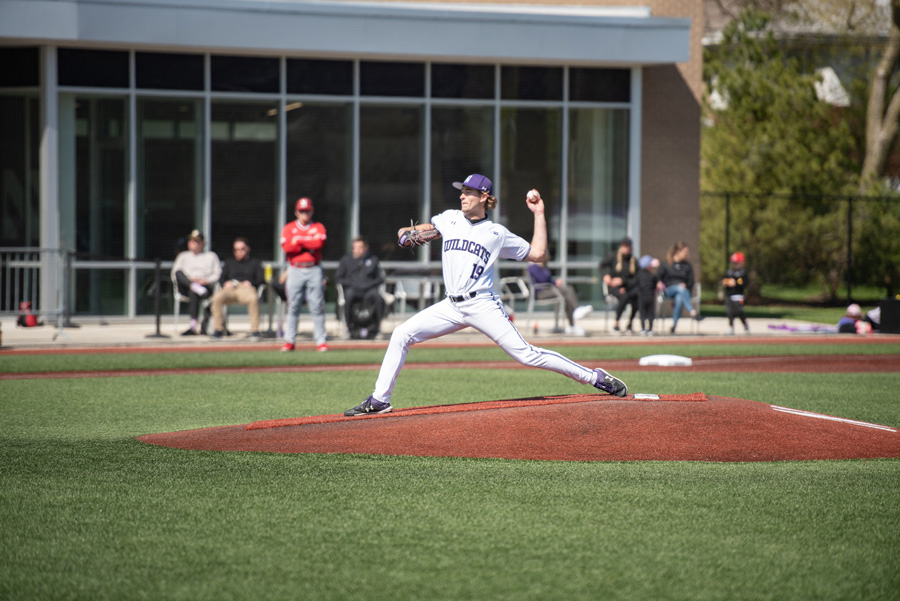 Ryan Bader throws from the mound. The sophomore pitched seven scoreless innings in game one of NU's series win over Nebraska this weekend.