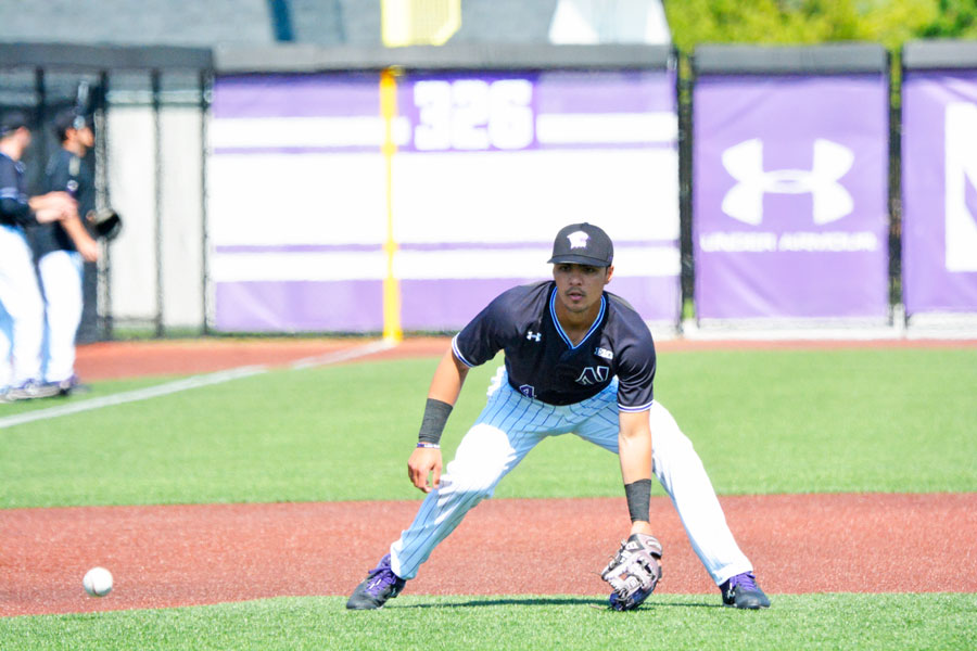 Alex Erro fields a ground ball. The Wildcats fell to Notre Dame in their final nonconference game of the season Tuesday.