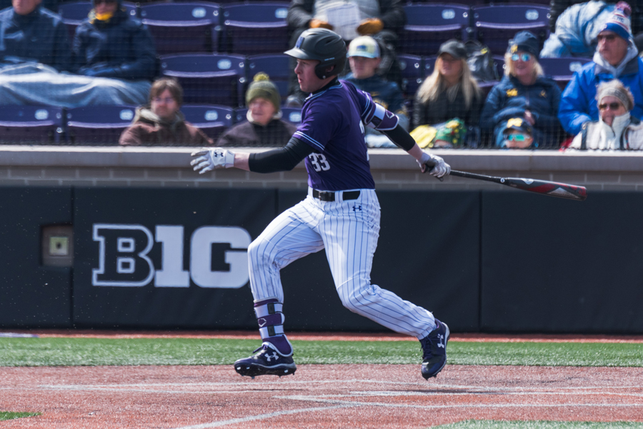 Casey O'Laughlin follows through on his swing. The sophomore went 3-for-4 in NU's win over Illinois State on Wednesday.