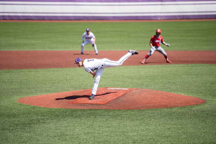 Ryan Bader throws from the mound. The sophomore threw six innings in NU's series-clinching win against Rutgers on Saturday.