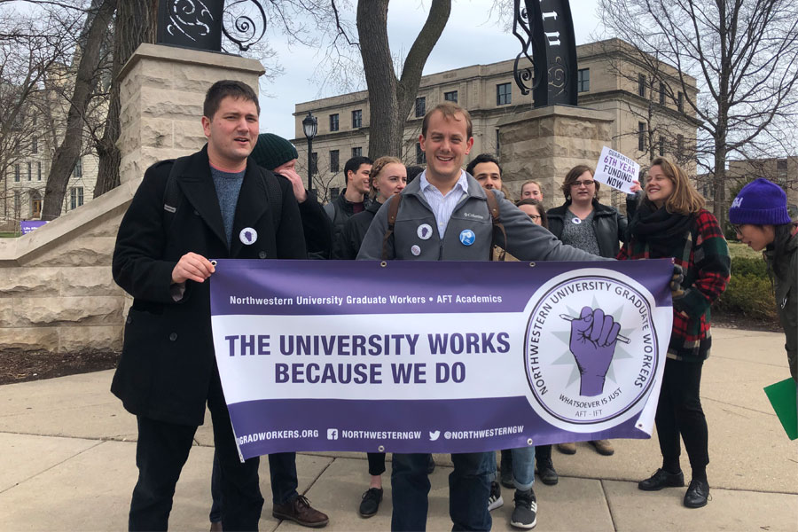 Graduate students march to the Rebecca Crown Center to secure sixth-year funding from The Graduate School. The passage of Illinois House Bill 253 would be a significant win for graduate students, who have been pushing for rights as employees instead of students.