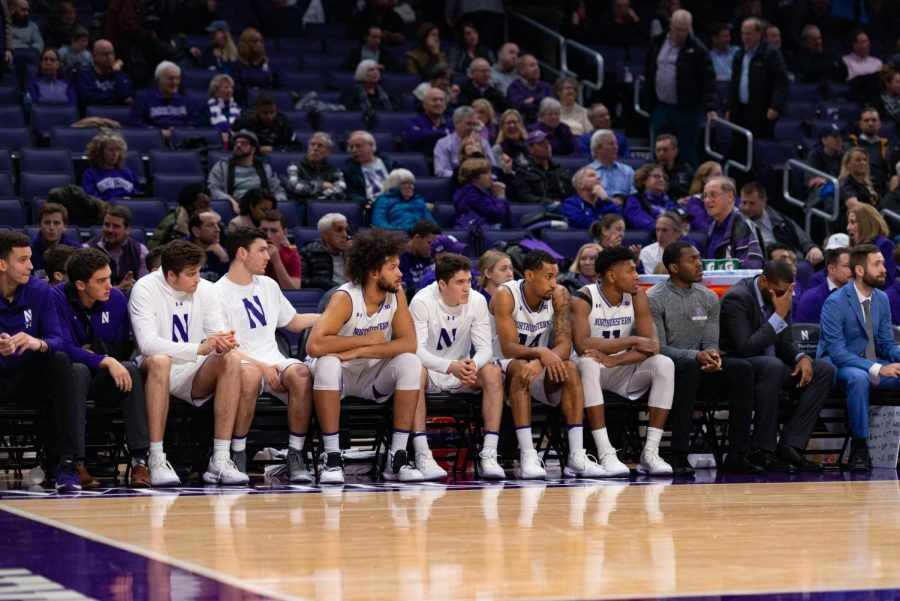 The+Northwestern+bench+during+a+game+this+year.+A+trio+of+transfers+recently+announced+their+destinations+for+next+season.