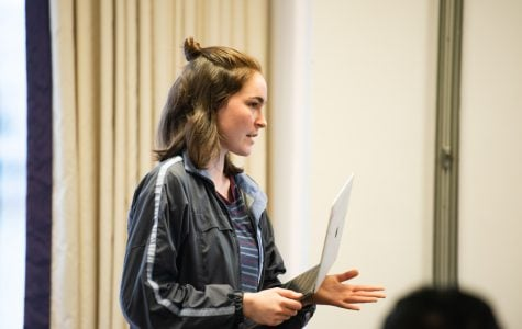 Elizabeth Sperti, left, at an Associated Student Government Senate meeting. The ASG parliamentarian helped strike a bargain between the Greek caucus and Senate leadership.