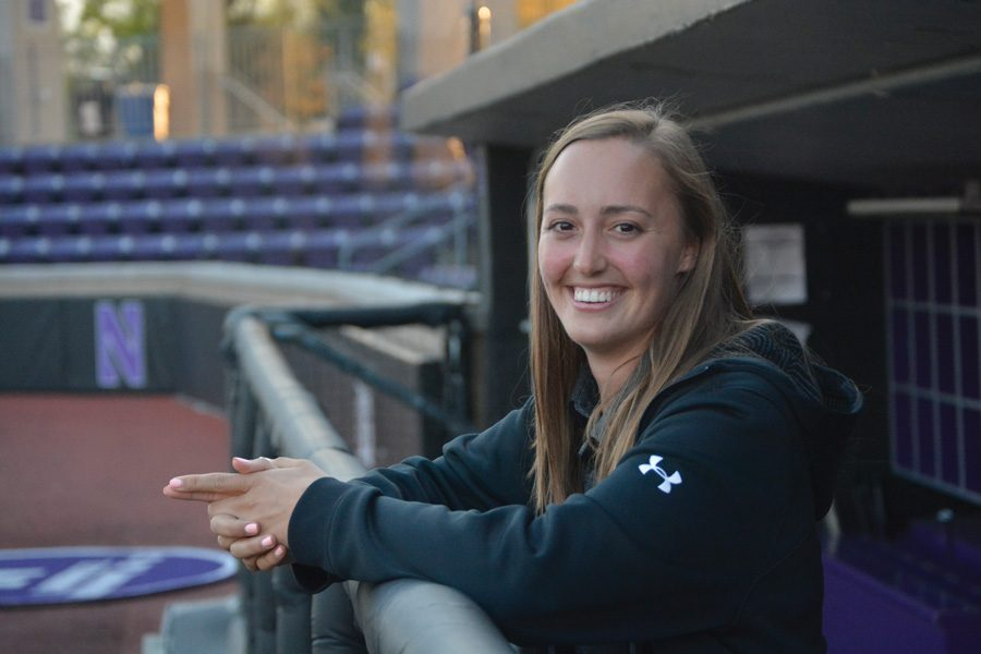 Allyson Darragh in the Northwestern dugout. Darragh is in her fourth year as the Wildcats' director of baseball operations.