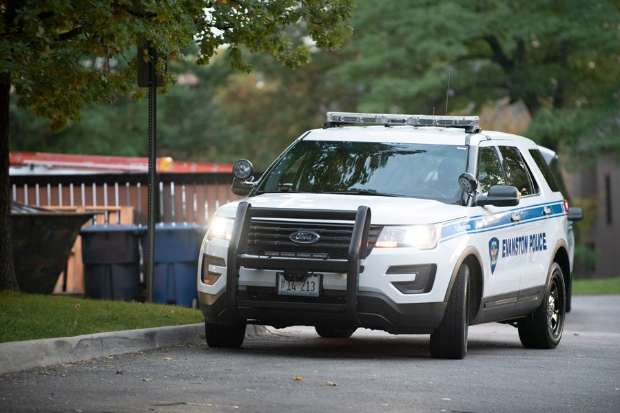 An Evanston Police Department vehicle. An Evanston man was charged in connection with a sexual assault that occurred in June.