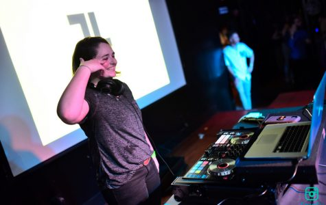 Student DJ Caroline Hughes, better known as Luminosity, performs at Battle of the DJs.