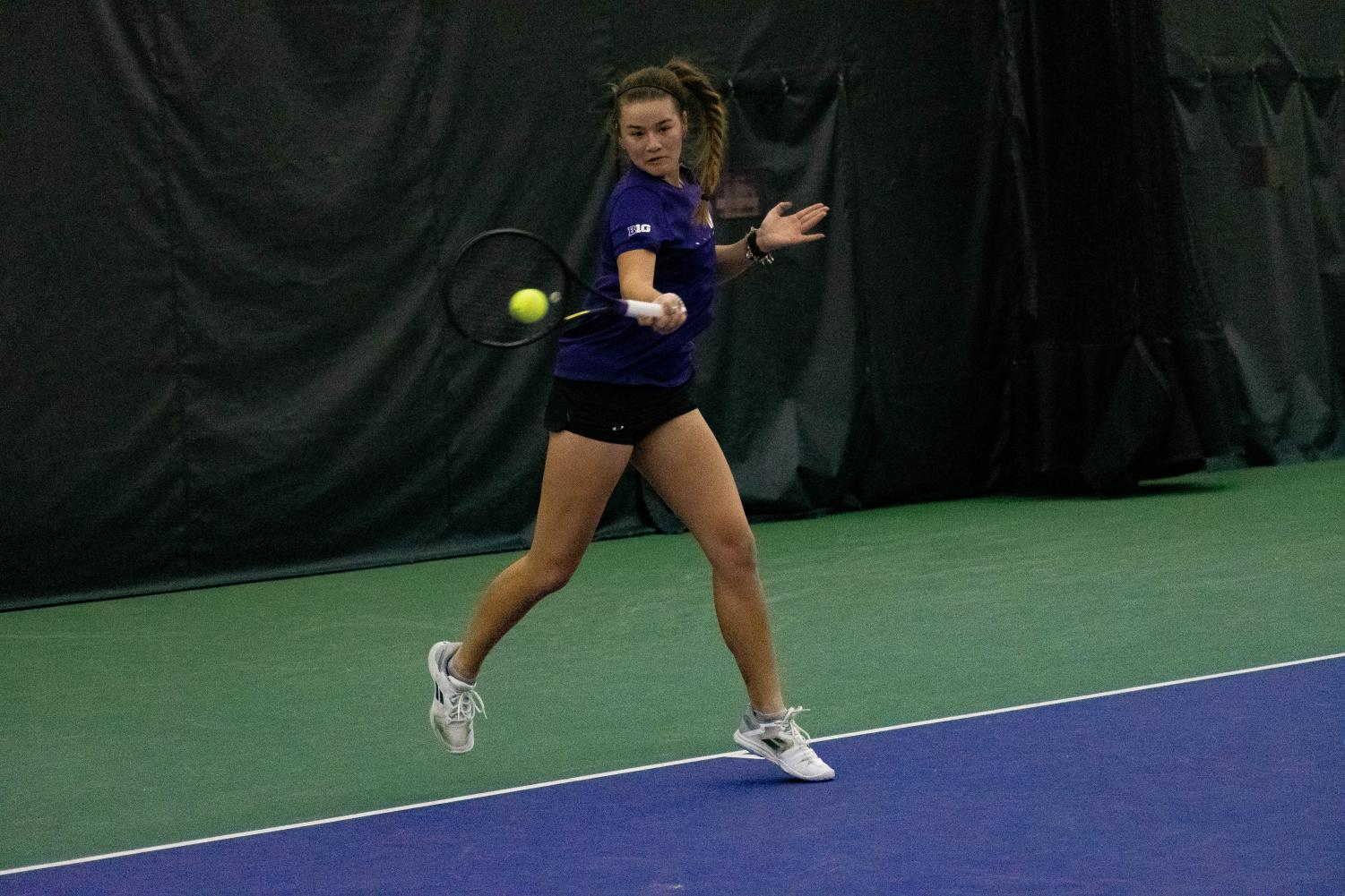Clarissa Hand hits the ball. The freshman was one of just 10 rookies to earn a bid to this year's NCAA Singles Championships.