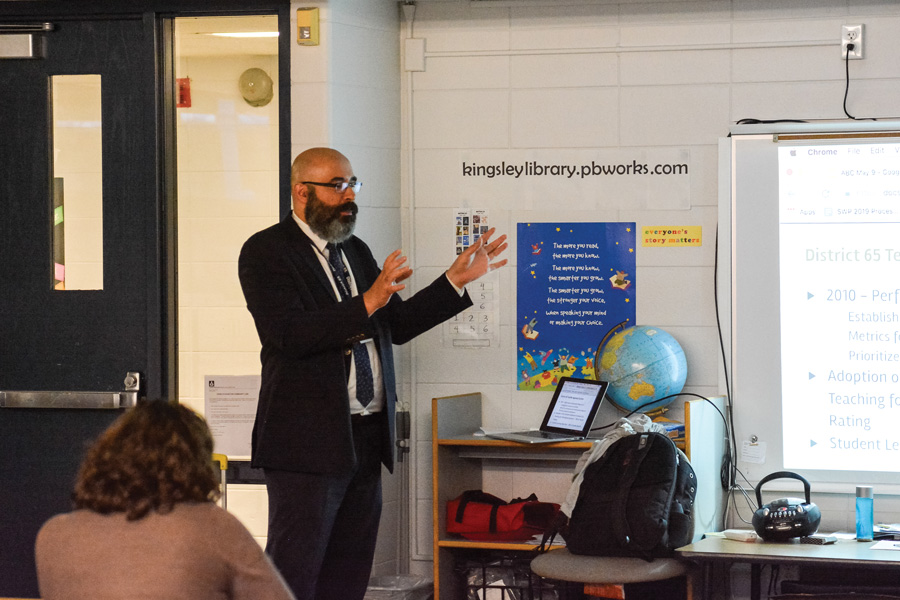 District 65 Assistant Superintendent of Schools Andalib Khelghati speaks at Kingsley Elementary School. Khelghati said he is confident that the achievement gap between Black, Latinx students and white students can be narrowed.