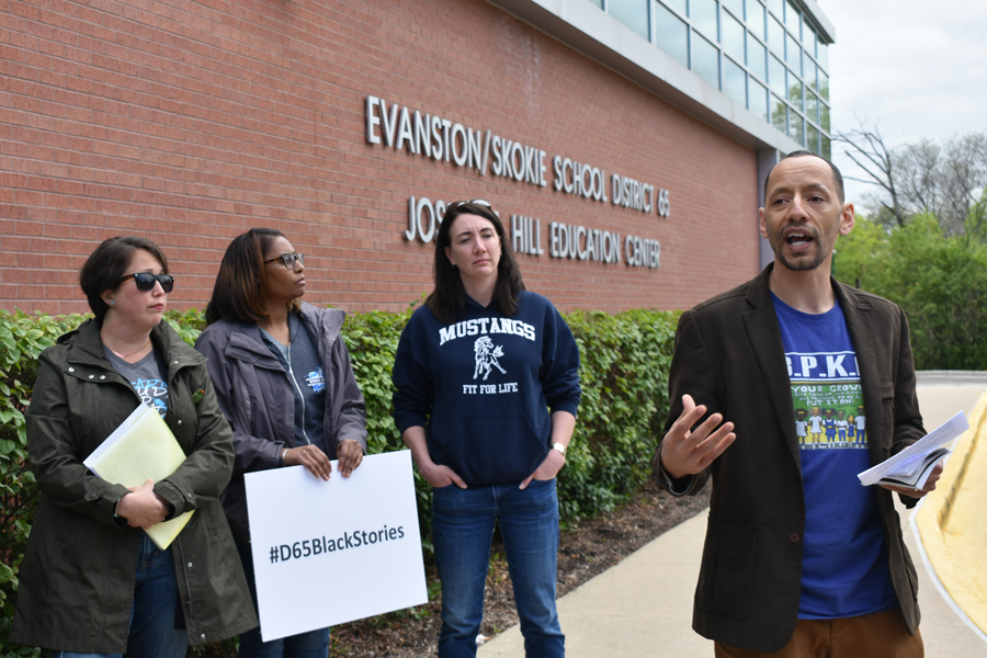 Abdel Shakur and other D65 parents speak at a press conference Monday. Black Parents of King Arts are demanding the school take immediate action to address the opportunity gap between black and white students.