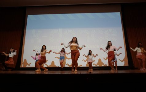 Members of K-Dance perform. The group, dedicated to K-pop dance, obtained official school organization status this quarter.